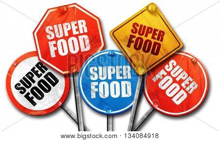 super food, 3D rendering, rough street sign collection