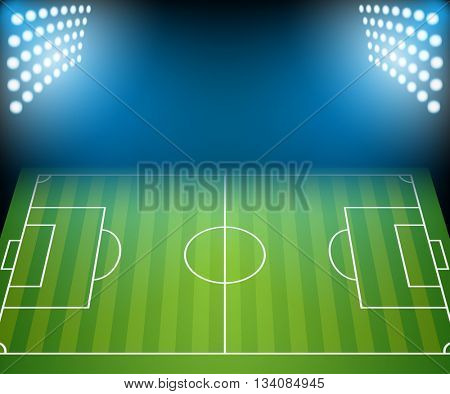 Football Field with Floodlights. Illustration Vector.