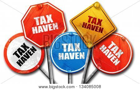 tax haven, 3D rendering, rough street sign collection