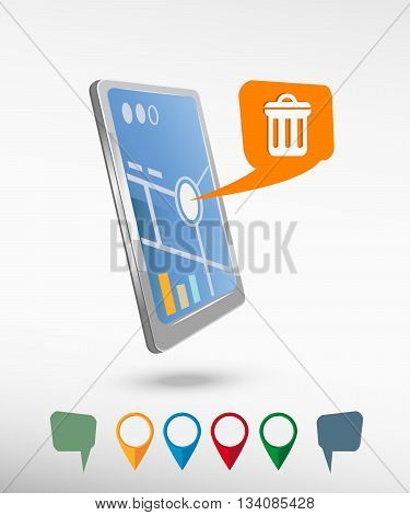 Trash Can Icon  And Perspective Smartphone Vector Realistic