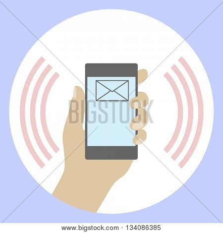 Phone in Hand. Icon Concept. Post messages on the display. Communications Technologies. Illustration vector.