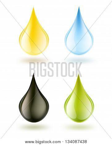 water oil petrol detergent or olive oil drops set on white. vector illustration