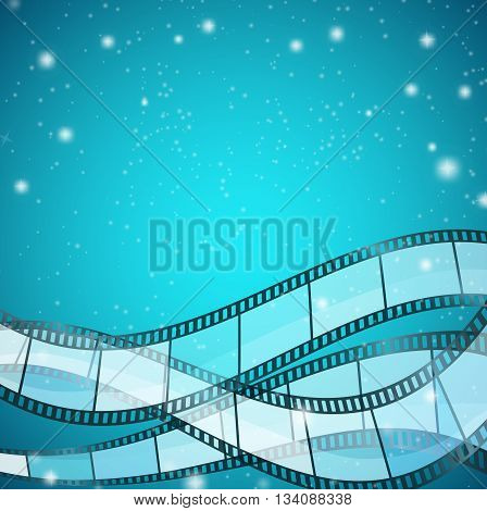 cinema background with film strips over blue background with stripes and glittering particles. vector illustration
