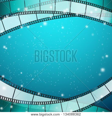 cinema background with film strips as frame over blue background with stripes and glittering particles. vector illustration
