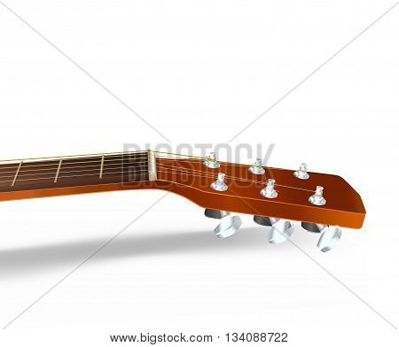 acoustic guitar neck on white. vector illustration