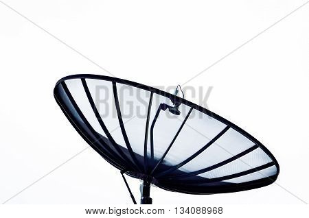 Silhouette object of Home satellite dish on white background