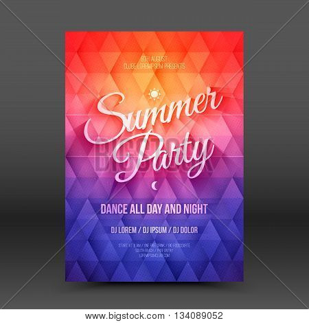 Vector flayer design template with text Summer Party