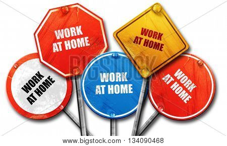 work at home, 3D rendering, rough street sign collection