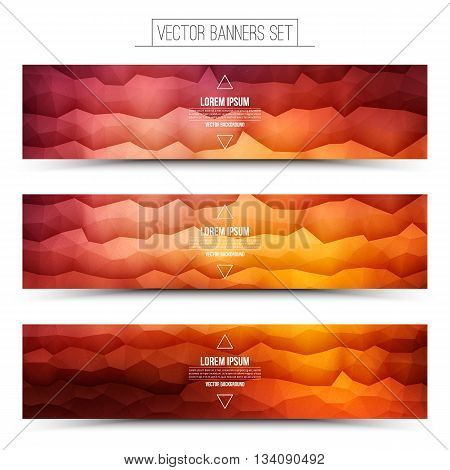 Abstract 3d vector bright waveform digital technology web banners set for business internet advertising ui seo