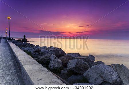 Beautiful sunset on the tireenic coastline of italy Europe