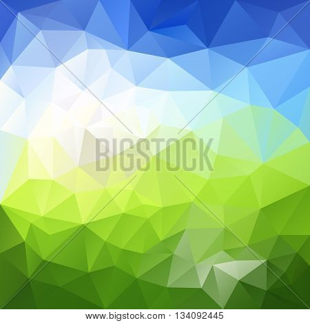 vector abstract irregular polygon background with a triangular pattern in natural landscape green and sky blue colors