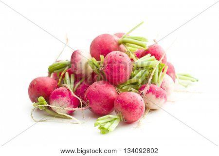 Fresh radishes isolated on white background. Healthy vegetable. Red radishes.