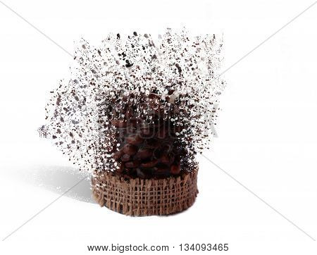 Coffee candle on a white background and the effect of of decay