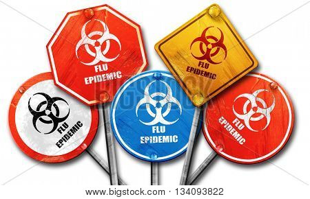 Flu virus concept background, 3D rendering, rough street sign co