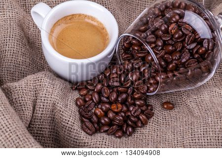 Cup Of Coffee And Beans