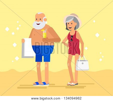 Character senior, senior age travelers. Old age retired tourists couple. Elderly couple senior having summer vacation. Old tourists, senior in swimsuits go on beach. Active