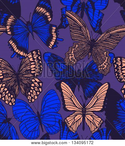 vector dark seamless hand-drawn colorful background with butterflies