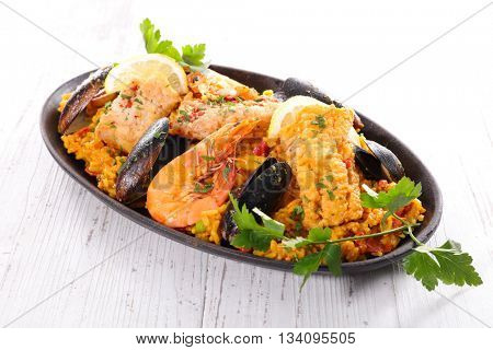 paella with rice and seafood