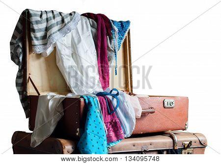 Female Clothing Trunk Vintage Isolated White
