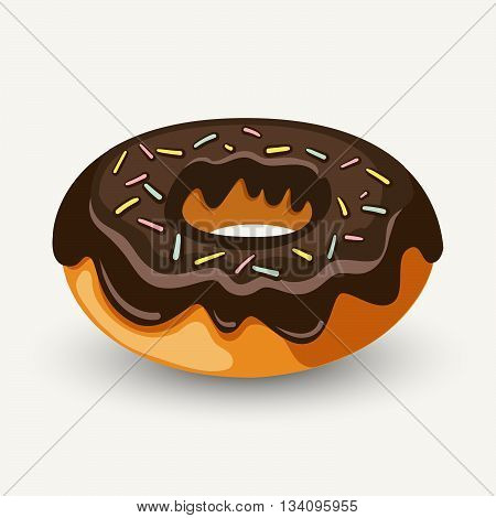 Hand Drawn Ring Doughnut Glazed With Chocolate And Topped With Colorful Sprinkles. Modern Stylish Ve