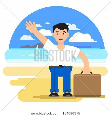 Man with a suitcase on a tourist arrived on a beach holiday. Against the background of a sea landscape. Tourist hello. Vector illustration