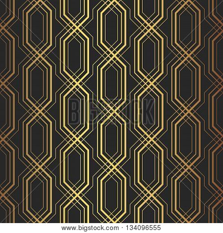 Stylish Vintage Geometric Background With Complex Repeating Structure Of Crossing Golden Lines On Bl