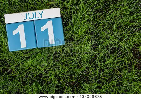 July 11th. Image of july 11 wooden color calendar on greengrass lawn background. Summer day, empty space for text.
