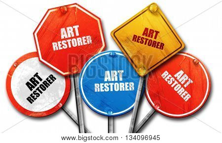 art restorer, 3D rendering, rough street sign collection