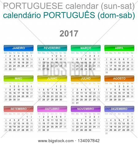 2017 Calendar Portuguese Language Version Sunday To Saturday