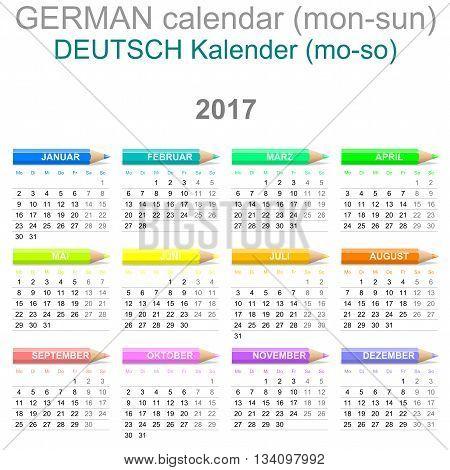 2017 Crayons Calendar German Version Monday To Sunday