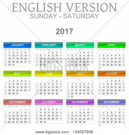 2017 Calendar English Language Version Sunday To Saturday