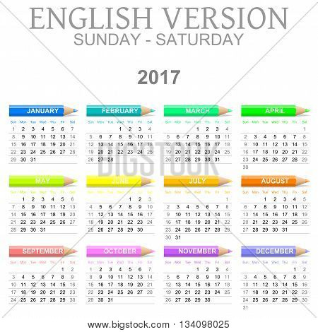 2017 Crayons Calendar English Version Sunday To Saturday