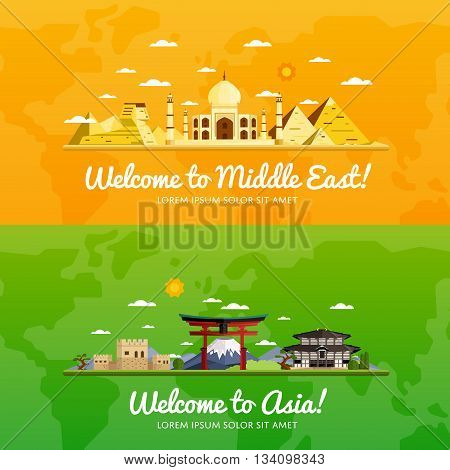 poster of Welcome to Middle East and Asia travel flat vector illustration. Journey around the world. World traveling concept. Middle East travel and Asia travel banners. Worldwide discover. Travel concept.  World travel background. Travel asia banners. Time to trav