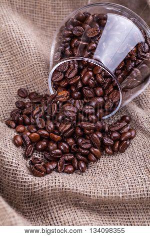 Coffee Beans On Sackcloth