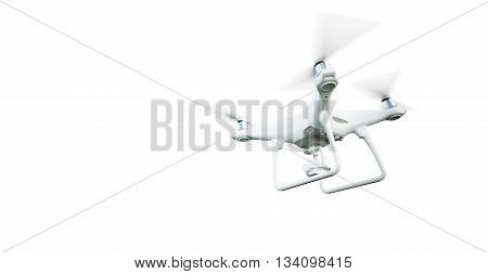 Photo Matte Generic Design Modern Remote Control Air Drone Flying with action camera. Isolated on Blank White Background. Horizontal . 3D rendering