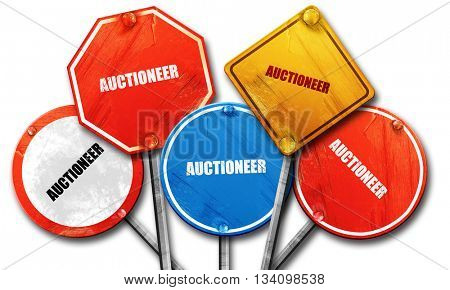 auctioneer, 3D rendering, rough street sign collection
