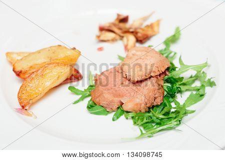 Delicious chianina beef dish, close-up