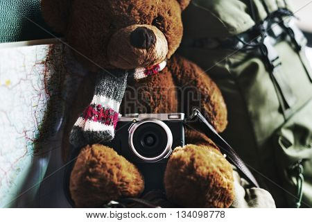 Camping Teddy Bear Travel Roadtrip Concept