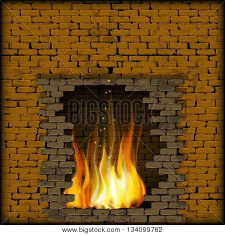 Vector illustration fire in the fireplace of the old brick wall. There is a place for text or image you can use any text or image on a black background.