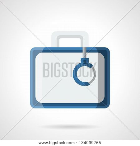 Aluminum case with handcuff and blue elements. Business and finance. Cash case sign, criminal money. Flat color style vector icon.