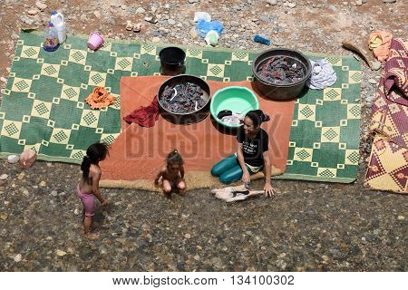 MOROCCO - AUGUST 02: Unidentified people washing clothes in the river in Morocco August 02 2015. Morocco is one of the most popular tourist place in North Africa.