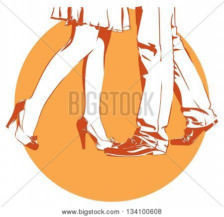 beautiful womanish and masculine legs dance a tango
