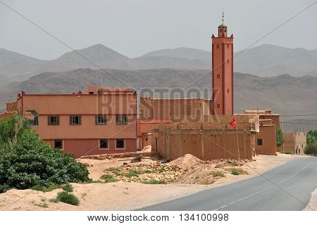 MOROCCO - AUGUST 02: mosque in Atlas mountains in Morocco August 02 2015. Morocco is one of the most popular tourist place in North Africa.