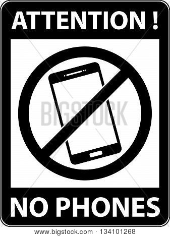 No Phone, Telephone Prohibited Symbol. Vector.