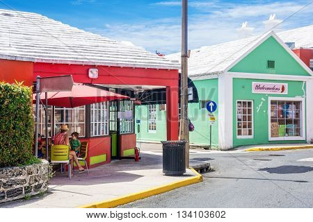 ST.GEORGE BERMUDA MAY 27 - Colorful shops with white roofs to collect water in St. George on May 27 2016 in Bermuda.