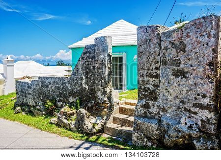 An old wall and steps in this neighborhood of St. George's in Bermuda.