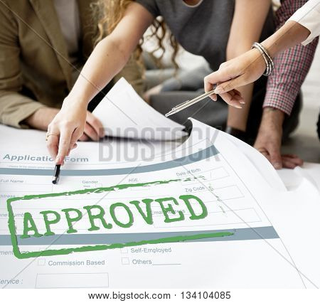 Approved Accepted Application Form Mark Concept