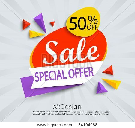 Sale - special offer banner. Sale and discounts. Vector illustration.