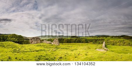 Panorama from Harbottle Castle, which is situated on a mound in the Coquetdale Valley Northumberland, providing a good view of the Cheviot Hills