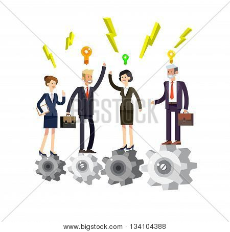 Vector detailed character businessman and businesswoman pieces of company mechanism. Business concept, team turn up cog wheel gear infographic concept. Teamwork workforce corporate spirit.